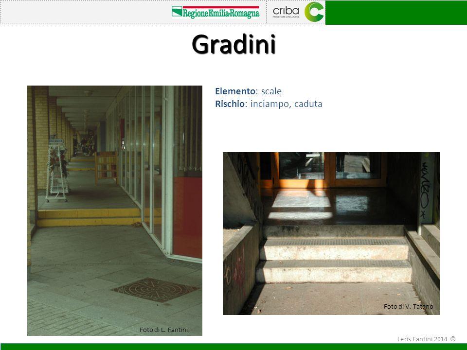 I Elemento: scale Rischio: inciampo, caduta Gradini Foto di V. Tatano Foto di L. Fantini Leris Fantini 2014 ©