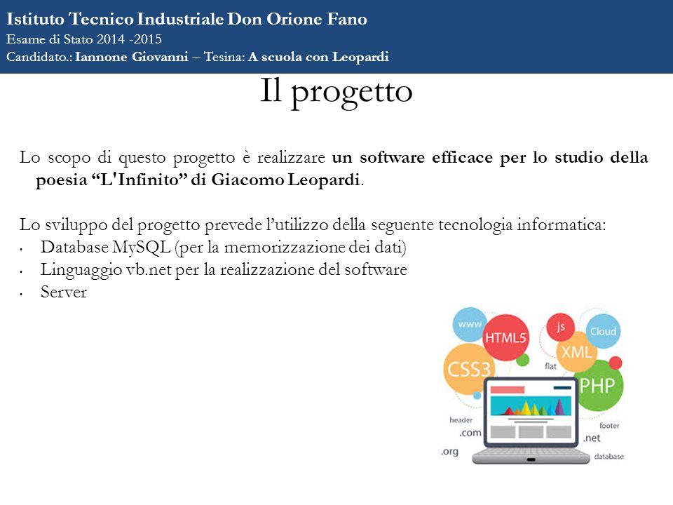 """Il progetto Lo scopo di questo progetto è realizzare un software efficace per lo studio della poesia """"L'Infinito"""" di Giacomo Leopardi. Lo sviluppo del"""