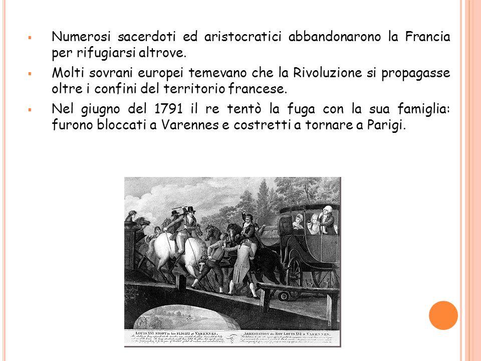  Numerosi sacerdoti ed aristocratici abbandonarono la Francia per rifugiarsi altrove.  Molti sovrani europei temevano che la Rivoluzione si propagas