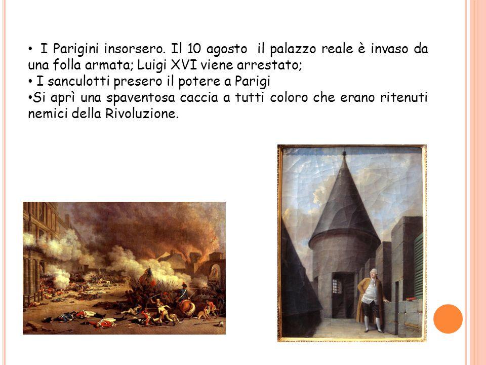 I Parigini insorsero. Il 10 agosto il palazzo reale è invaso da una folla armata; Luigi XVI viene arrestato; I sanculotti presero il potere a Parigi S