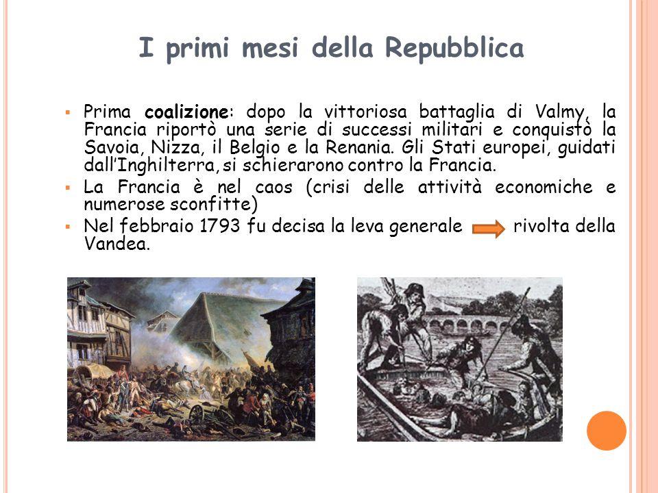 I primi mesi della Repubblica  Prima coalizione: dopo la vittoriosa battaglia di Valmy, la Francia riportò una serie di successi militari e conquistò