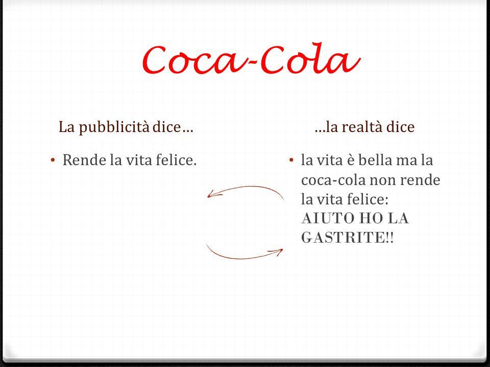 Coca-Cola La pubblicità dice……la realtà dice Rende la vita felice. la vita è bella ma la coca-cola non rende la vita felice: AIUTO HO LA GASTRITE!!