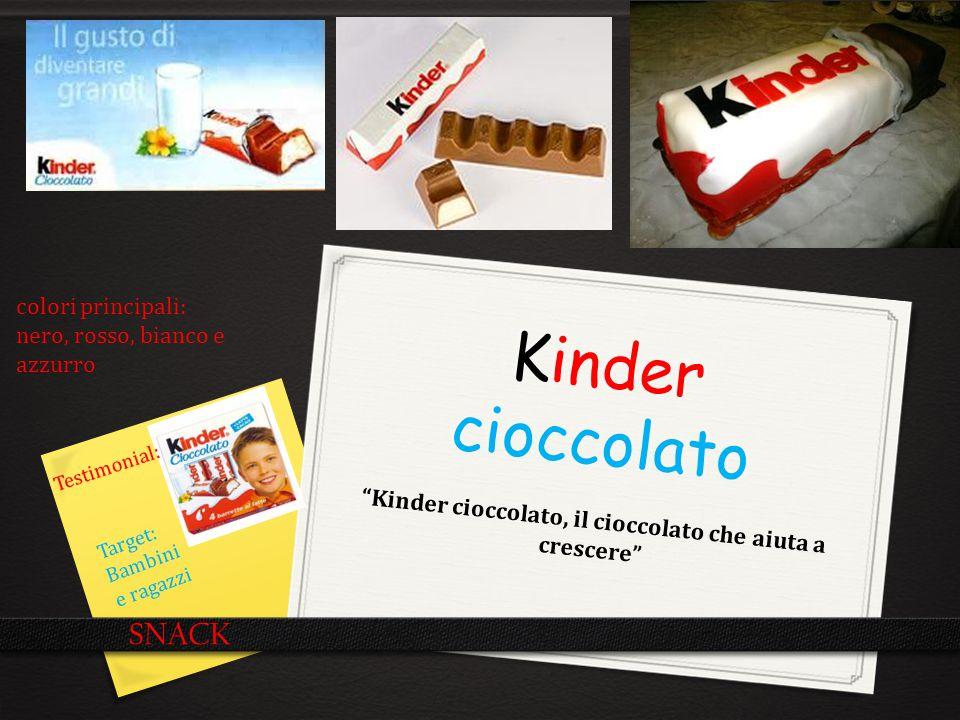"""Kinder cioccolato """"Kinder cioccolato, il cioccolato che aiuta a crescere"""" SNACK Testimonial: Target: Bambini e ragazzi colori principali: nero, rosso,"""
