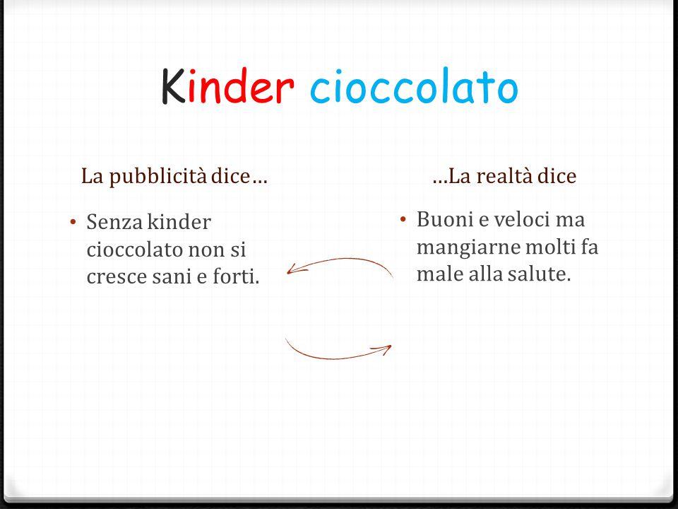 Kinder cioccolato La pubblicità dice……La realtà dice Senza kinder cioccolato non si cresce sani e forti. Buoni e veloci ma mangiarne molti fa male all
