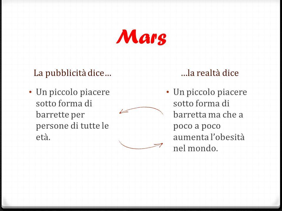 Mars La pubblicità dice……la realtà dice Un piccolo piacere sotto forma di barrette per persone di tutte le età. Un piccolo piacere sotto forma di barr