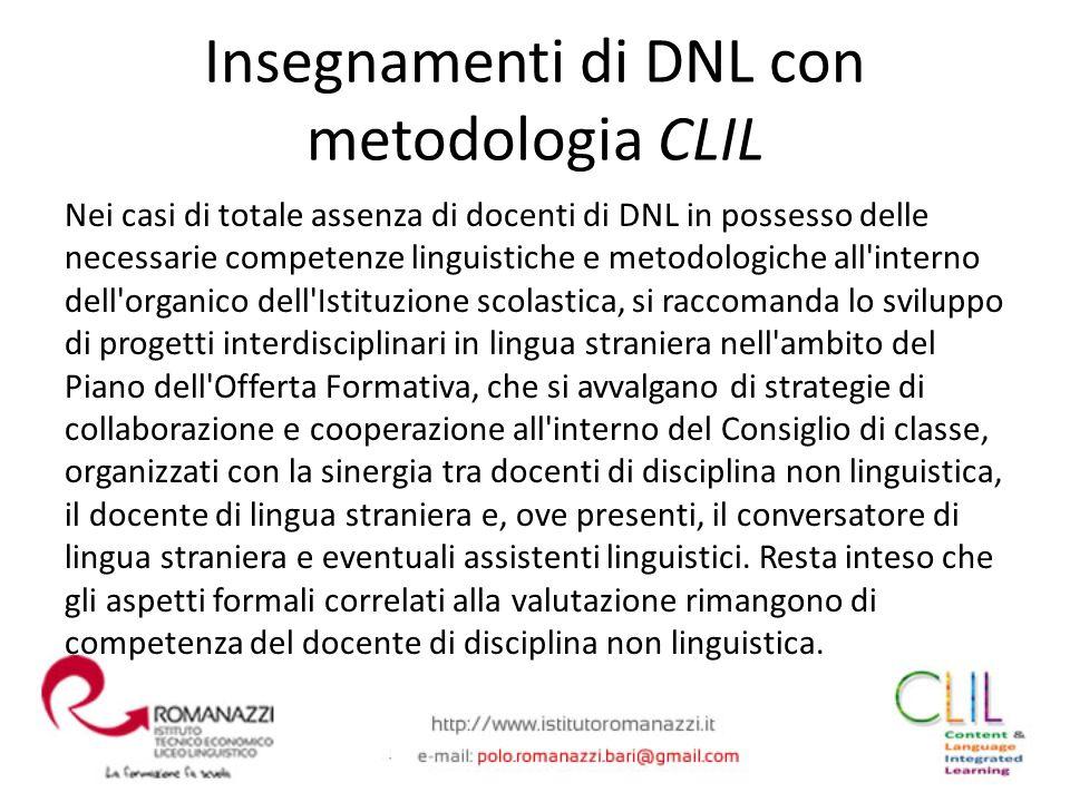 Nei casi di totale assenza di docenti di DNL in possesso delle necessarie competenze linguistiche e metodologiche all'interno dell'organico dell'Istit