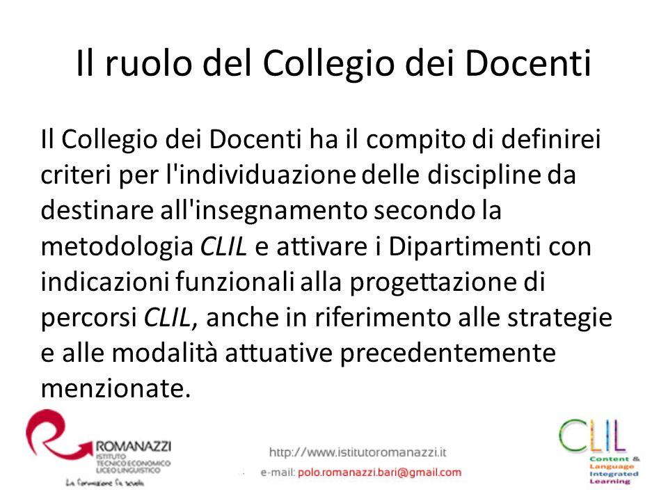 Il Collegio dei Docenti ha il compito di definirei criteri per l'individuazione delle discipline da destinare all'insegnamento secondo la metodologia