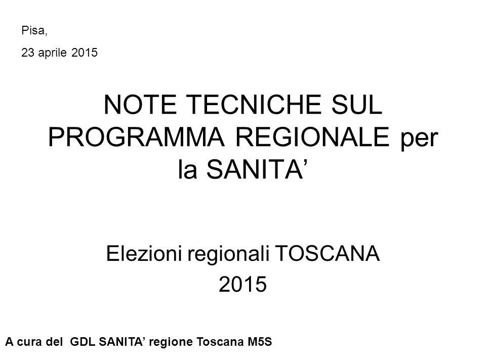 NOTE TECNICHE SUL PROGRAMMA REGIONALE per la SANITA' Elezioni regionali TOSCANA 2015 A cura del GDL SANITA' regione Toscana M5S Pisa, 23 aprile 2015