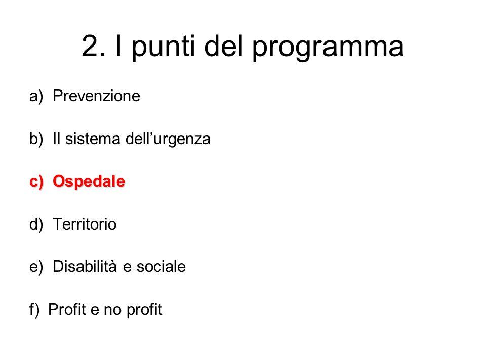 2. I punti del programma a) Prevenzione b) Il sistema dell'urgenza c) Ospedale d) Territorio e) Disabilità e sociale f) Profit e no profit