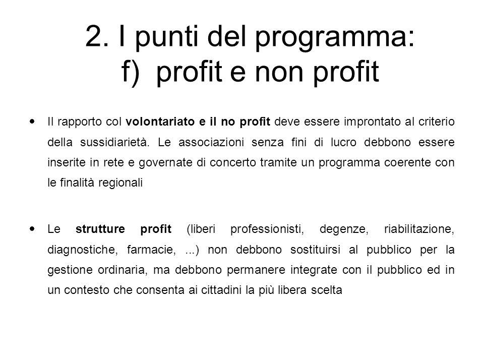  Il rapporto col volontariato e il no profit deve essere improntato al criterio della sussidiarietà.
