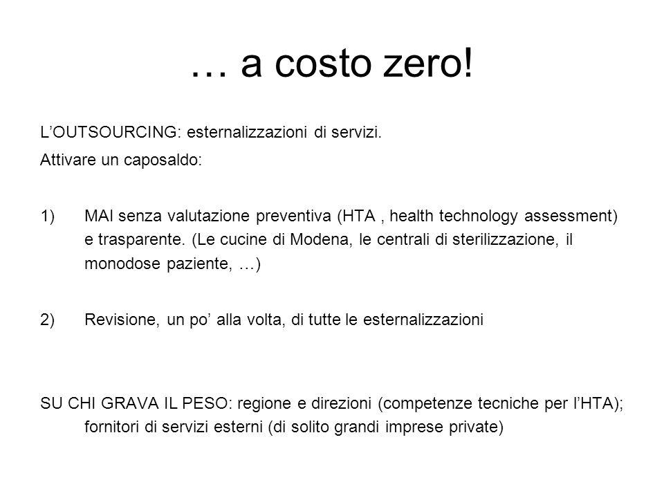 … a costo zero. L'OUTSOURCING: esternalizzazioni di servizi.