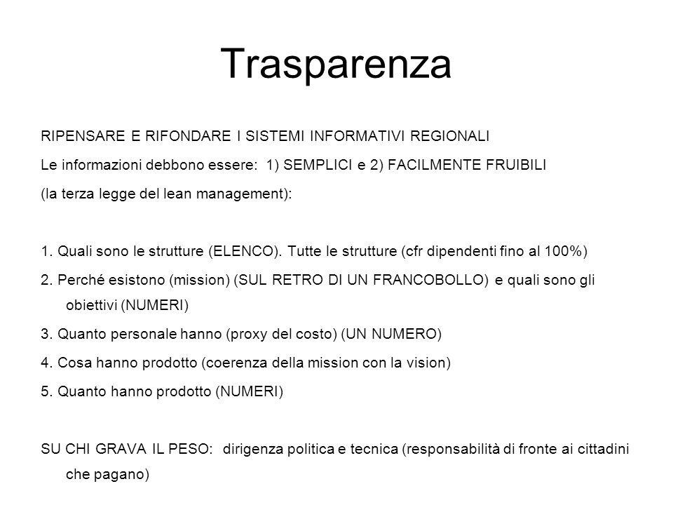 Trasparenza RIPENSARE E RIFONDARE I SISTEMI INFORMATIVI REGIONALI Le informazioni debbono essere: 1) SEMPLICI e 2) FACILMENTE FRUIBILI (la terza legge del lean management): 1.