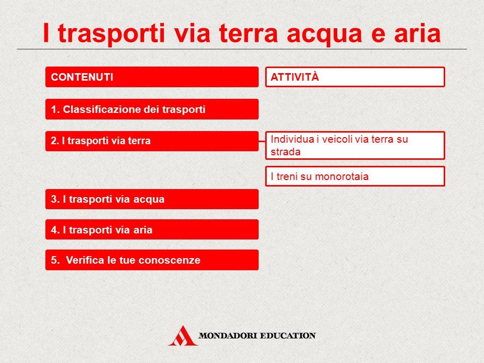 I trasporti via terra acqua e aria CONTENUTI 1.Classificazione dei trasporti 2.