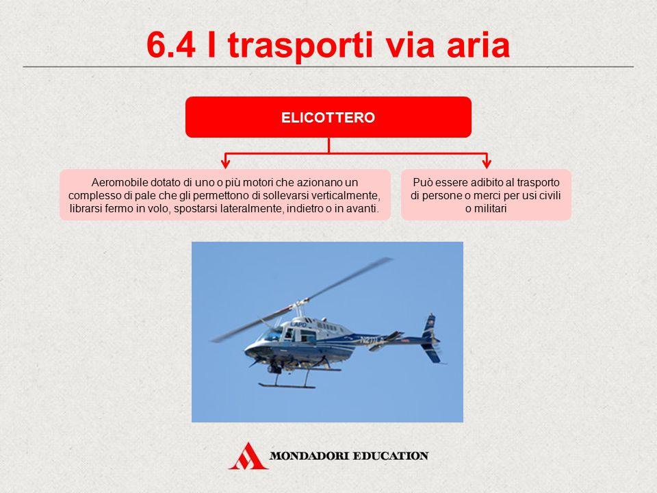 6.3 I trasporti via aria AEROPLANO O AEREO A seconda di come atterrano, ci sono aerei terrestri, idrovolanti e anfibi. Secondo l'uso cui sono destinat