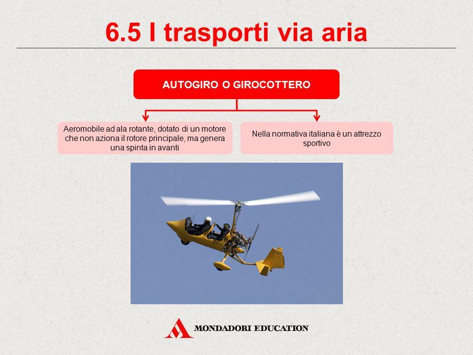 6.4 I trasporti via aria ELICOTTERO Può essere adibito al trasporto di persone o merci per usi civili o militari Aeromobile dotato di uno o più motori