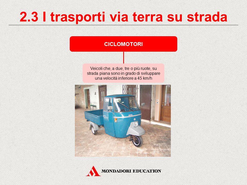 2.3 I trasporti via terra su strada CICLOMOTORI Veicoli che, a due, tre o più ruote, su strada piana sono in grado di sviluppare una velocità inferiore a 45 km/h