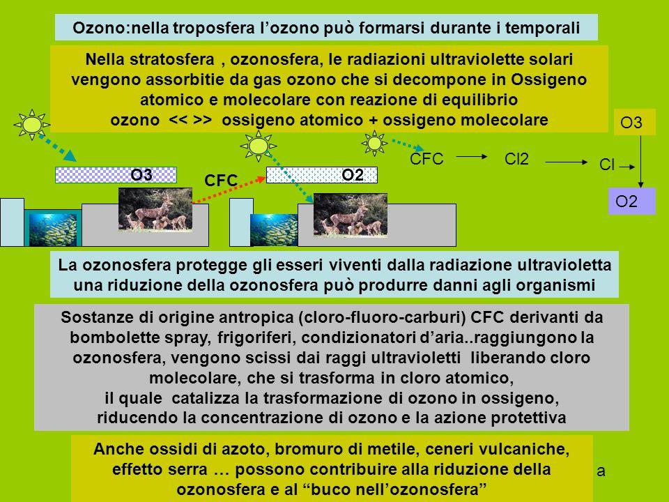 Ozono O3 origine naturale nella stratosfera, ozonosfera, come derivato dalla reazione favorita con assorbimento di radiazione solare ultravioletta O = O > O O ; O=2 + O > O3 ; 3 O2 <> 2 O3 Origine antropica : nella troposfera per trasformazioni che intervengono su ossidi azoto, composti organici volatili, monossido di carbonio, metano NO2 + radiazione ultravioletta (di origine solare, temporali) si dissocia in NO + O O + O2 ( + catalizzatore) > O3 ; NO + O3 > NO2 + O2 Pericoloso per apparato respiratorio, irritazioni oculari… dannoso per le piante, perché rende più fragili i cloroplasti, riducendo la fotosintesi, favorendo l'invecchiamento delle piante..
