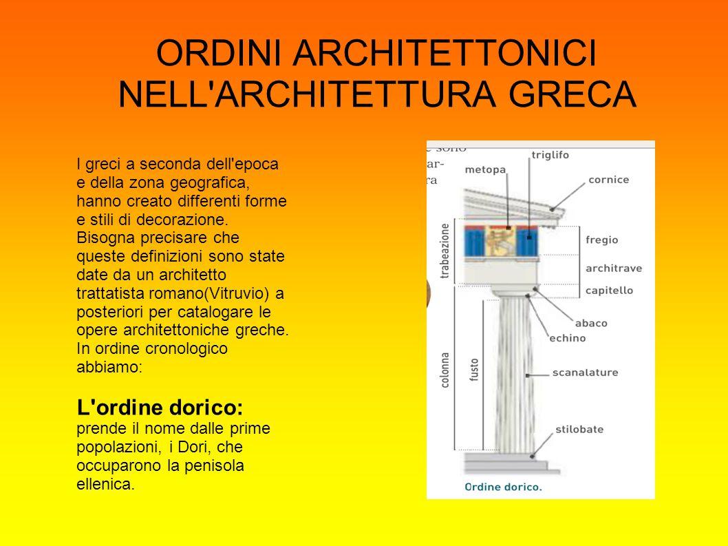 L ordine Ionico : prende il nome dalla popolazione degli Ioni, cacciati dai Dori dalla e rifugiatisi in Asia Minore e nelle isole dell Egeo.