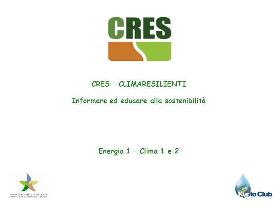 CRES – CLIMARESILIENTI Informare ed educare alla sostenibilità Energia 1 – Clima 1 e 2