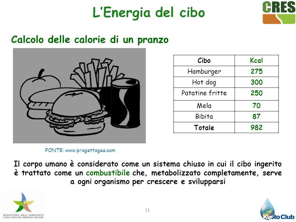 11 Calcolo delle calorie di un pranzo CiboKcal Hamburger275 Hot dog300 Patatine fritte250 Mela70 Bibita87 Totale982 Il corpo umano è considerato come