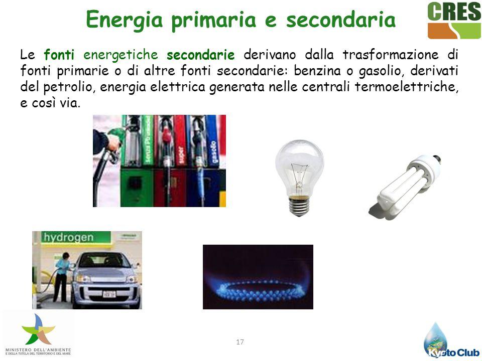 17 Le fonti energetiche secondarie derivano dalla trasformazione di fonti primarie o di altre fonti secondarie: benzina o gasolio, derivati del petrol