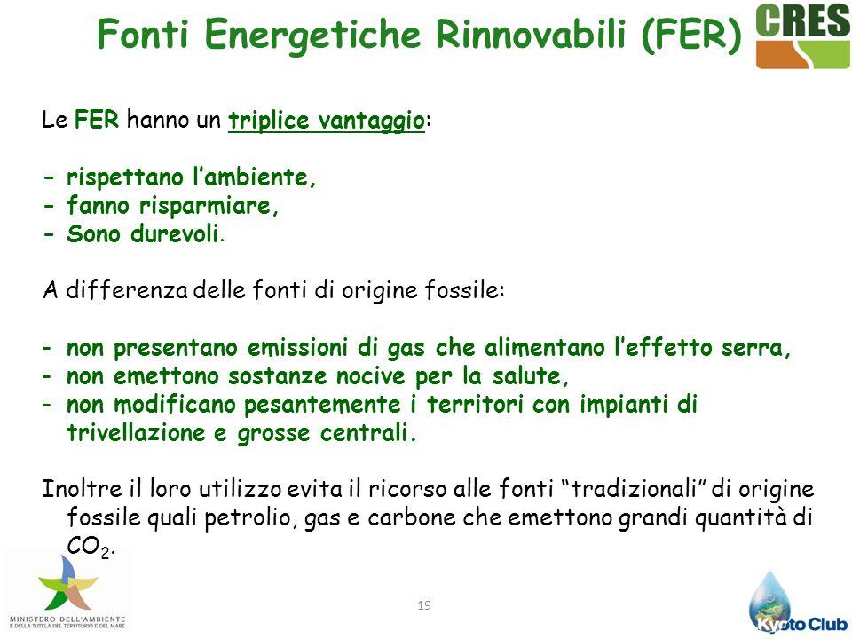 19 Le FER hanno un triplice vantaggio: - rispettano l'ambiente, - fanno risparmiare, - Sono durevoli. A differenza delle fonti di origine fossile: -no
