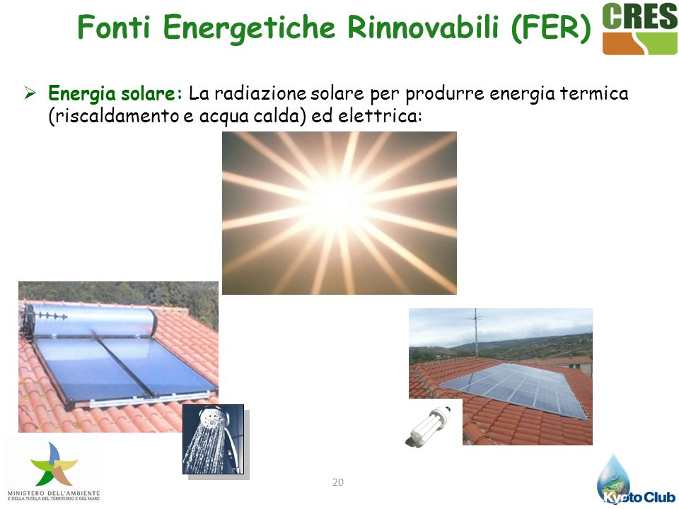 20  Energia solare: La radiazione solare per produrre energia termica (riscaldamento e acqua calda) ed elettrica: Fonti Energetiche Rinnovabili (FER)