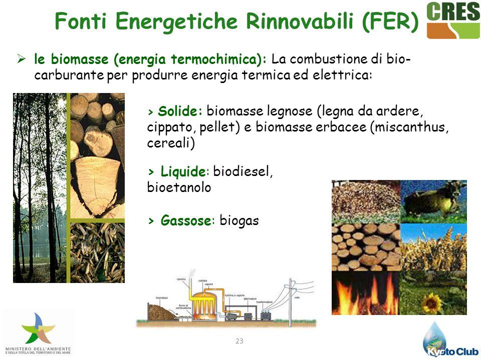 23  le biomasse (energia termochimica): La combustione di bio- carburante per produrre energia termica ed elettrica: > Gassose: biogas > Liquide: bio