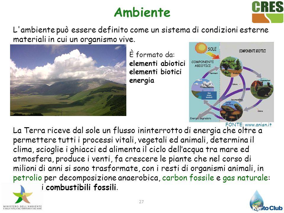 27 Ambiente L'ambiente può essere definito come un sistema di condizioni esterne materiali in cui un organismo vive. La Terra riceve dal sole un fluss