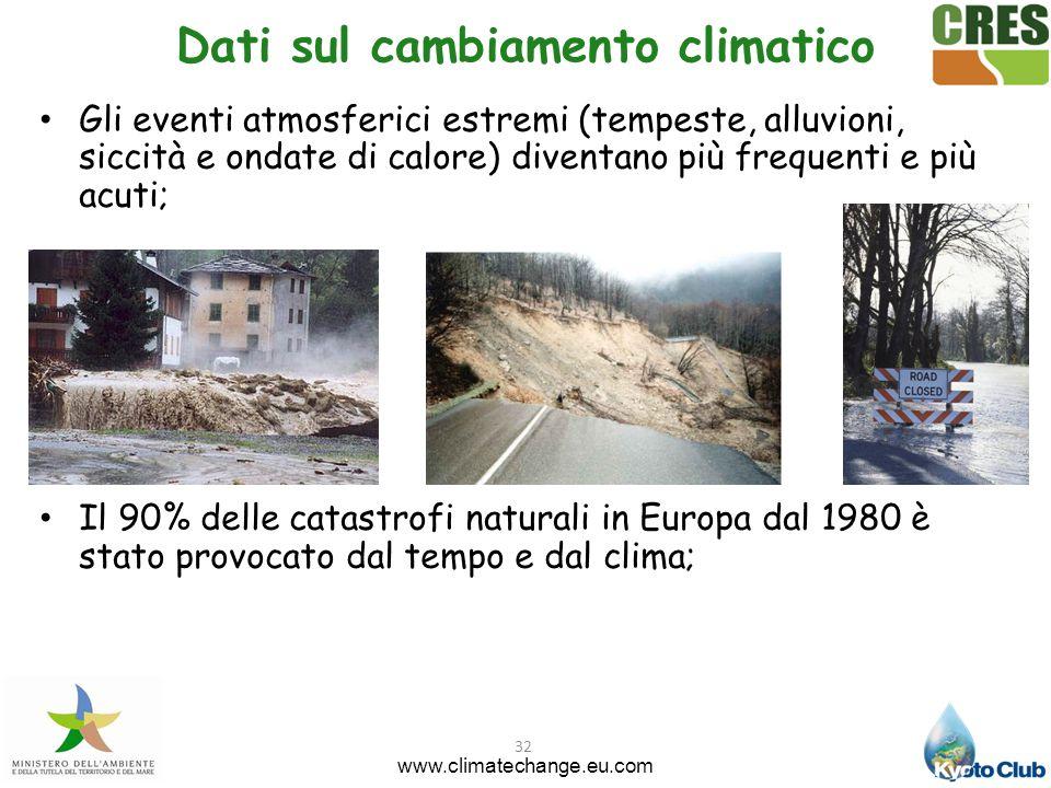 32 Gli eventi atmosferici estremi (tempeste, alluvioni, siccità e ondate di calore) diventano più frequenti e più acuti; Il 90% delle catastrofi natur