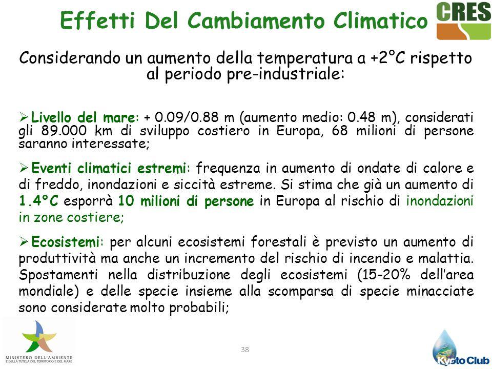 38 Effetti Del Cambiamento Climatico Considerando un aumento della temperatura a +2°C rispetto al periodo pre-industriale:  Livello del mare: + 0.09/