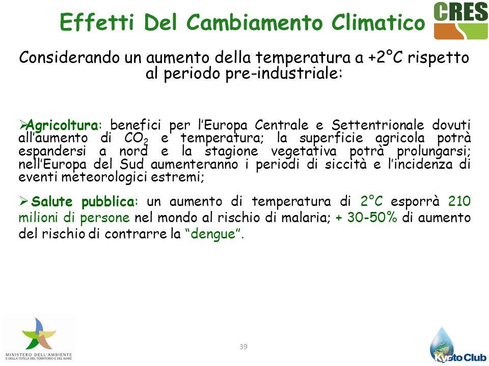 39 Effetti Del Cambiamento Climatico Considerando un aumento della temperatura a +2°C rispetto al periodo pre-industriale:  Agricoltura: benefici per