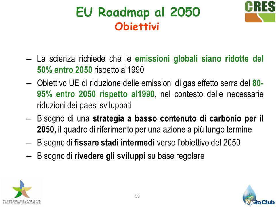 50 – La scienza richiede che le emissioni globali siano ridotte del 50% entro 2050 rispetto al1990 – Obiettivo UE di riduzione delle emissioni di gas