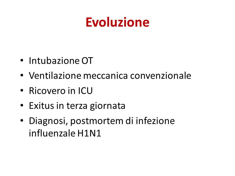 Evoluzione Intubazione OT Ventilazione meccanica convenzionale Ricovero in ICU Exitus in terza giornata Diagnosi, postmortem di infezione influenzale