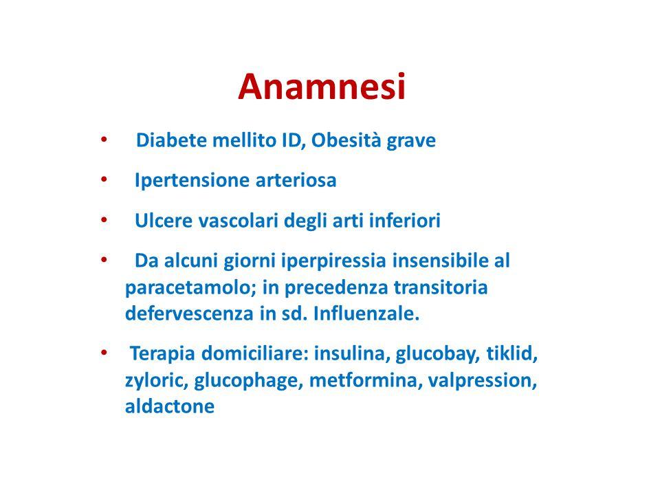 Anamnesi Diabete mellito ID, Obesità grave Ipertensione arteriosa Ulcere vascolari degli arti inferiori Da alcuni giorni iperpiressia insensibile al p