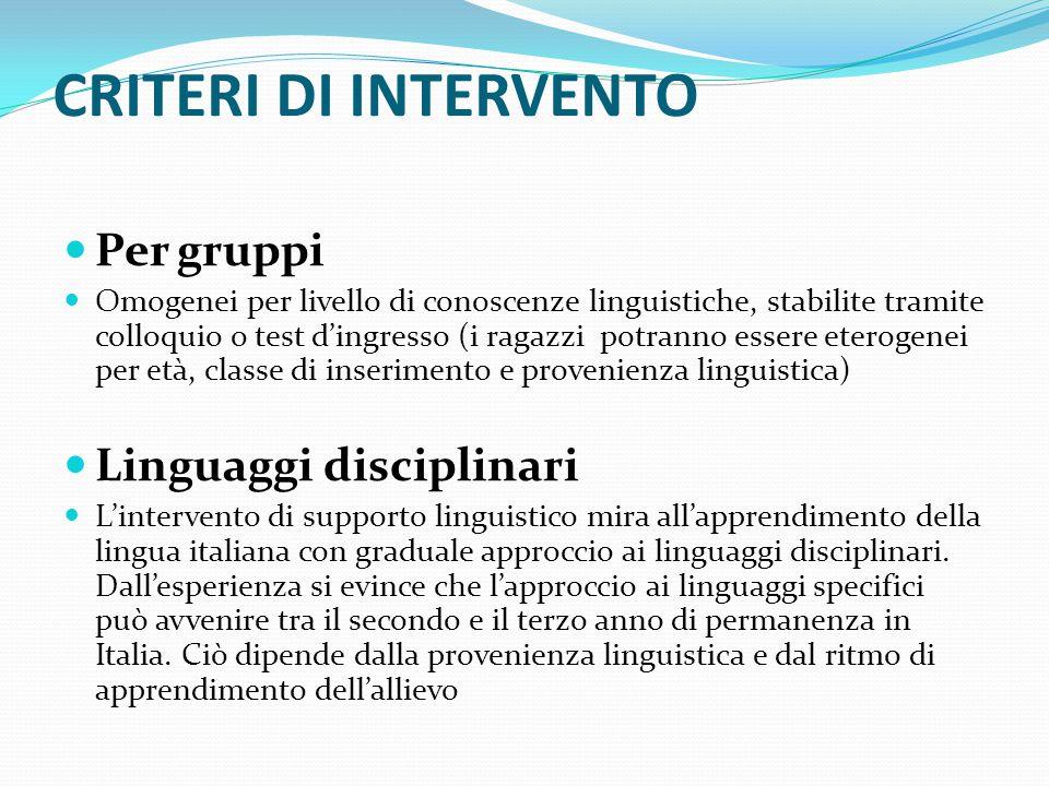 CRITERI DI INTERVENTO Per gruppi Omogenei per livello di conoscenze linguistiche, stabilite tramite colloquio o test d'ingresso (i ragazzi potranno es
