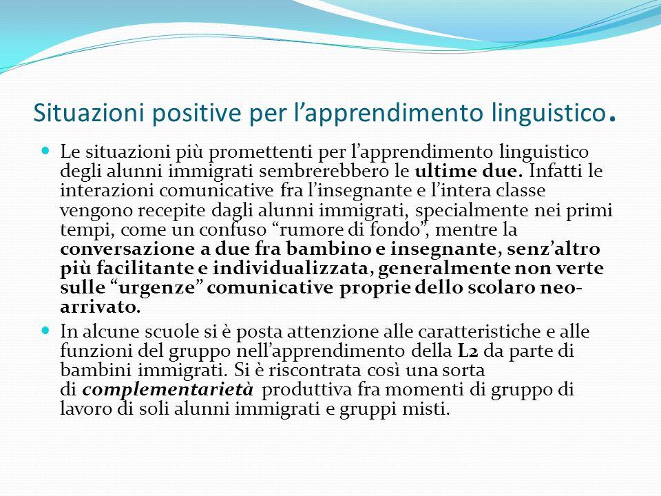 Situazioni positive per l'apprendimento linguistico. Le situazioni più promettenti per l'apprendimento linguistico degli alunni immigrati sembrerebber