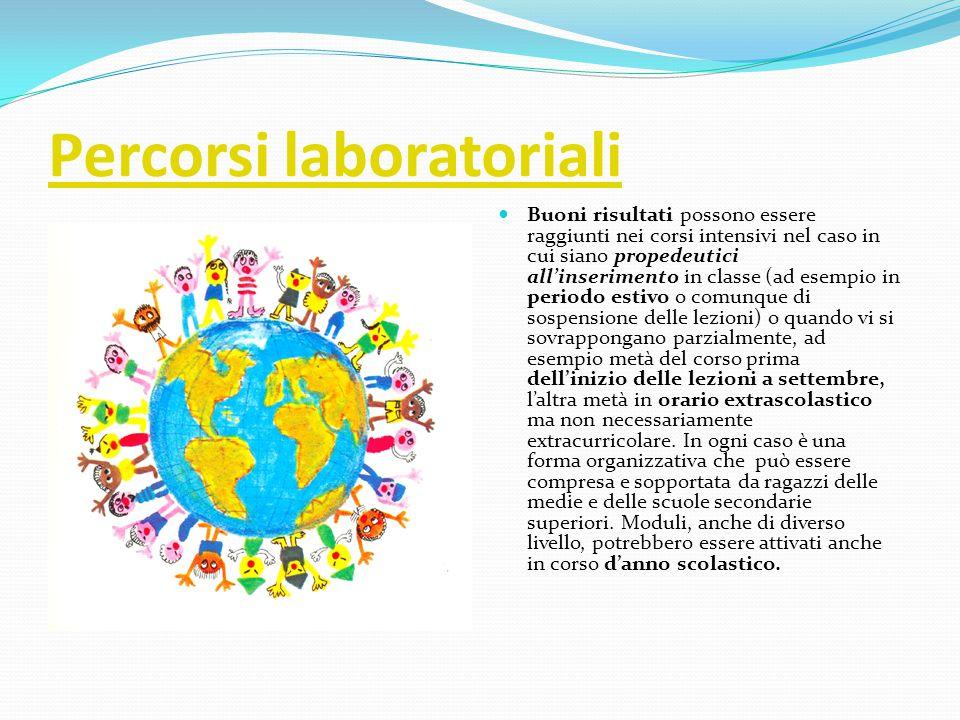 Percorsi laboratoriali Buoni risultati possono essere raggiunti nei corsi intensivi nel caso in cui siano propedeutici all'inserimento in classe (ad e