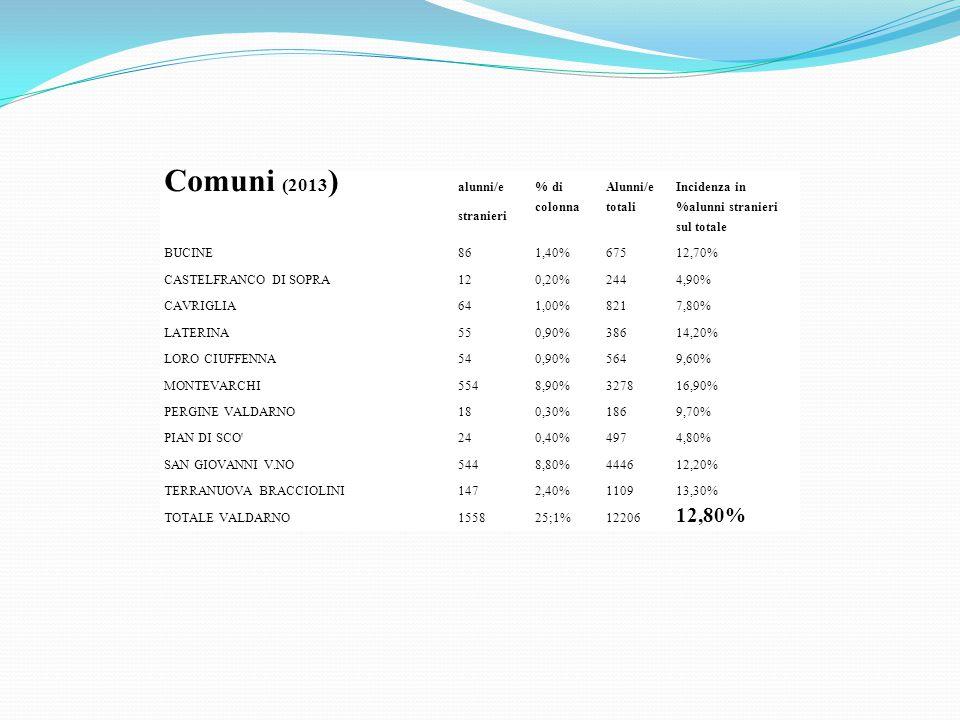 Comuni (2013 ) alunni/e stranieri % di colonna Alunni/e totali Incidenza in %alunni stranieri sul totale BUCINE861,40%67512,70% CASTELFRANCO DI SOPRA1