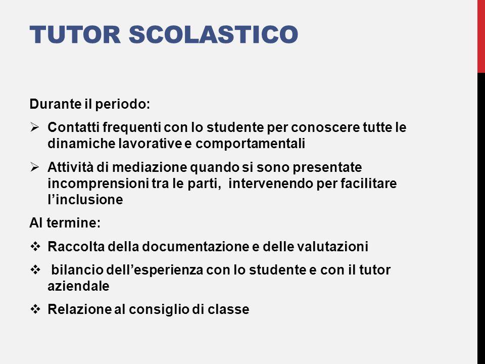 TUTOR SCOLASTICO Durante il periodo:  Contatti frequenti con lo studente per conoscere tutte le dinamiche lavorative e comportamentali  Attività di
