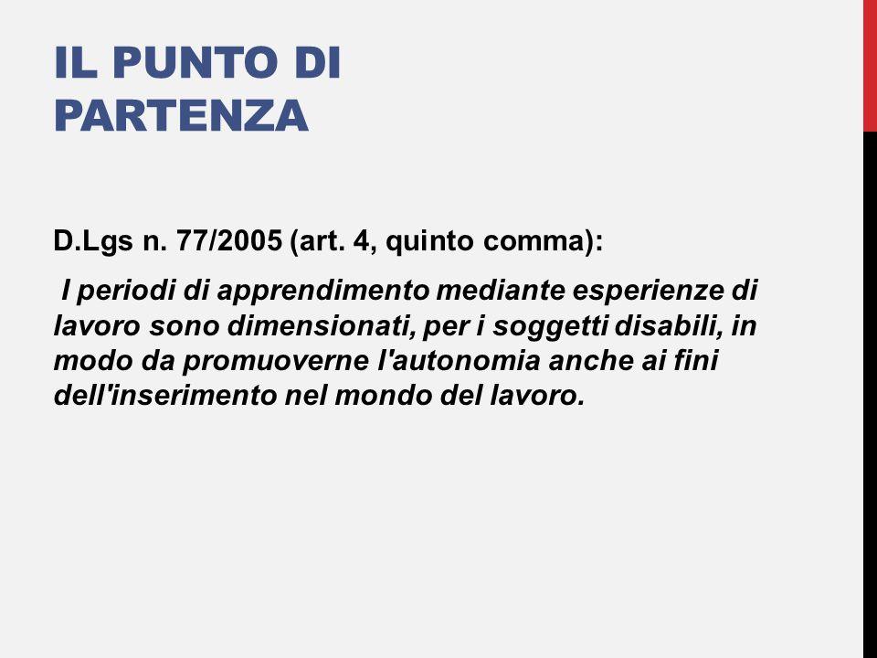 IL PUNTO DI PARTENZA D.Lgs n. 77/2005 (art. 4, quinto comma): I periodi di apprendimento mediante esperienze di lavoro sono dimensionati, per i sogget