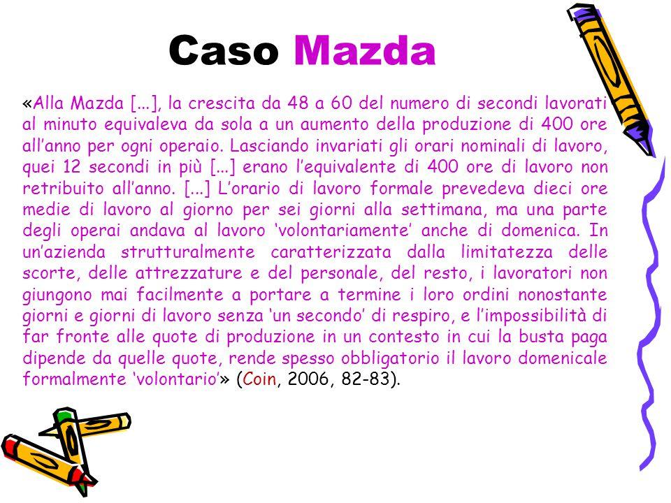 Caso Mazda «Alla Mazda [...], la crescita da 48 a 60 del numero di secondi lavorati al minuto equivaleva da sola a un aumento della produzione di 400 ore all'anno per ogni operaio.