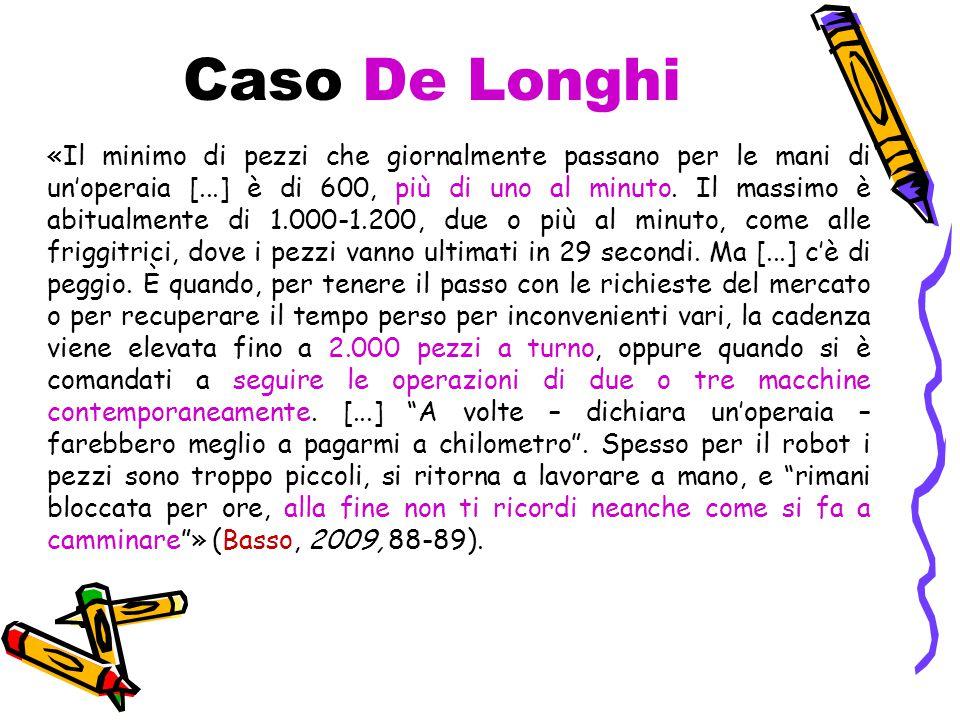 Caso De Longhi «Il minimo di pezzi che giornalmente passano per le mani di un'operaia [...] è di 600, più di uno al minuto.