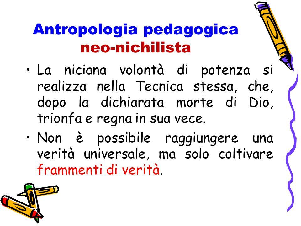 Antropologia pedagogica neo-nichilista La niciana volontà di potenza si realizza nella Tecnica stessa, che, dopo la dichiarata morte di Dio, trionfa e regna in sua vece.