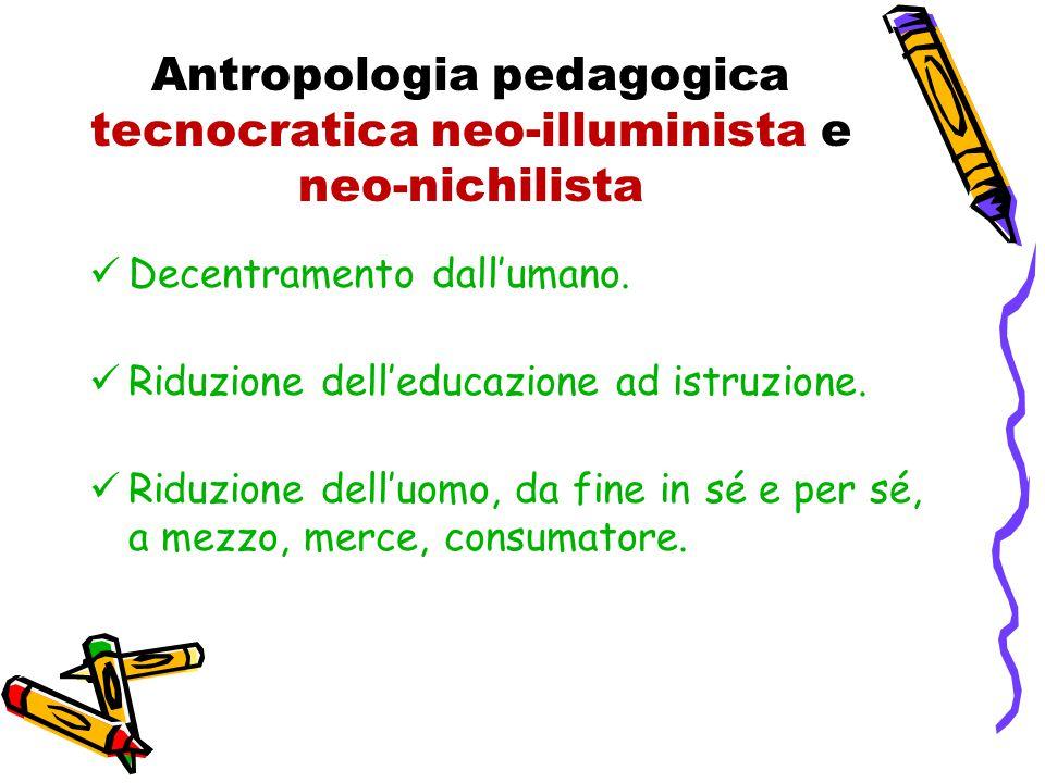 Antropologia pedagogica tecnocratica neo-illuminista e neo-nichilista Decentramento dall'umano.