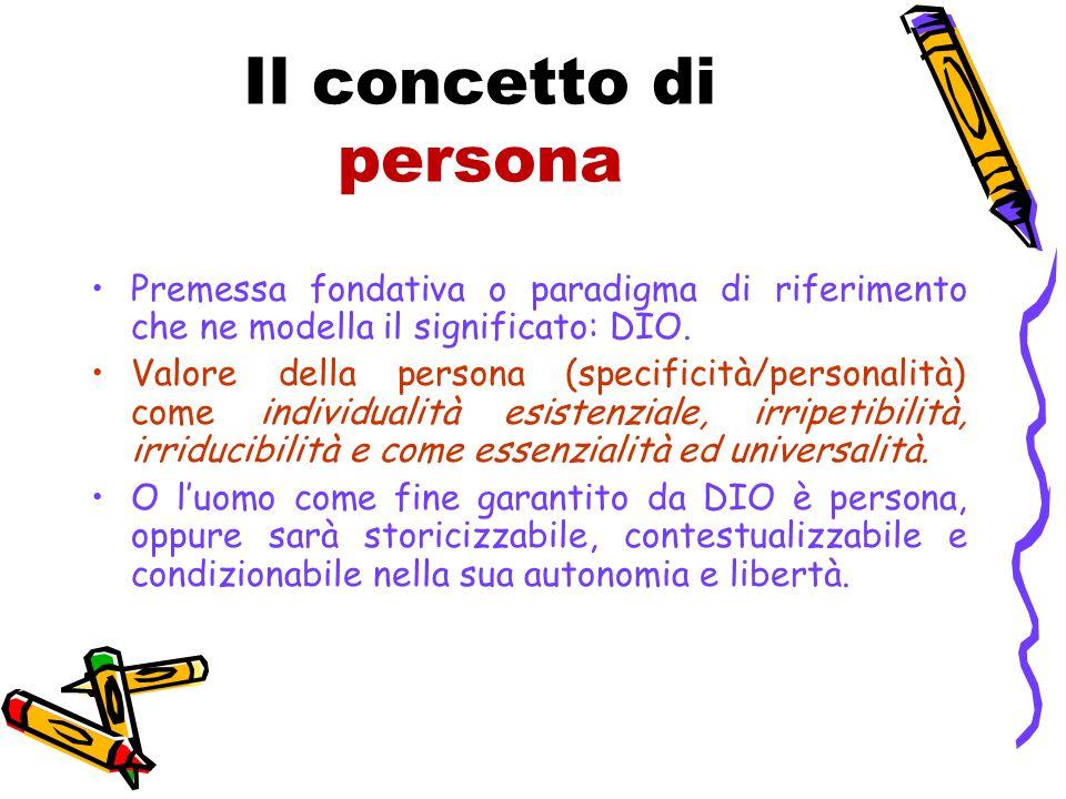 Il concetto di persona Premessa fondativa o paradigma di riferimento che ne modella il significato: DIO.