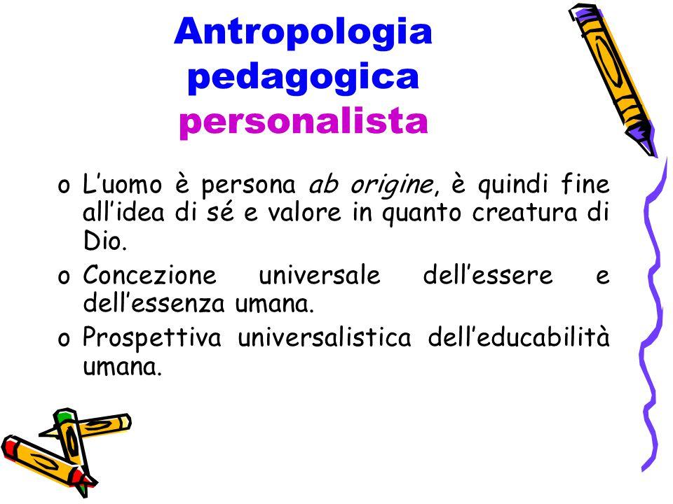 Antropologia pedagogica personalista oL'uomo è persona ab origine, è quindi fine all'idea di sé e valore in quanto creatura di Dio.