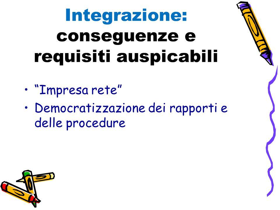 Integrazione: conseguenze e requisiti auspicabili Impresa rete Democratizzazione dei rapporti e delle procedure