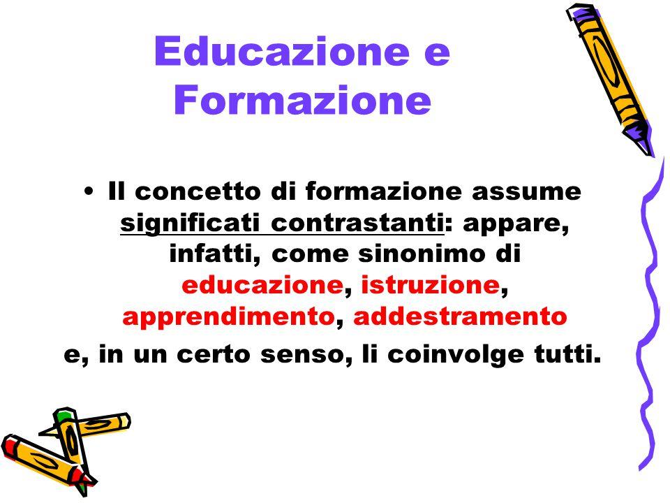Educazione e Formazione Il concetto di formazione assume significati contrastanti: appare, infatti, come sinonimo di educazione, istruzione, apprendimento, addestramento e, in un certo senso, li coinvolge tutti.