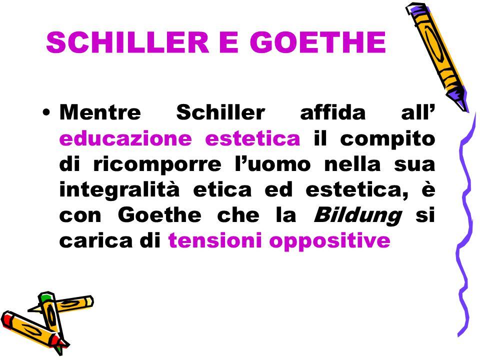 SCHILLER E GOETHE Mentre Schiller affida all' educazione estetica il compito di ricomporre l'uomo nella sua integralità etica ed estetica, è con Goethe che la Bildung si carica di tensioni oppositive